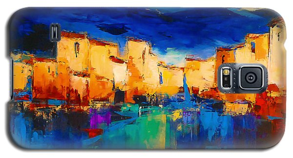 Galaxy S5 Case featuring the painting Sunset Over The Village by Elise Palmigiani