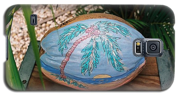 Galaxy S5 Case featuring the mixed media Sunset Palm by Nancy Taylor