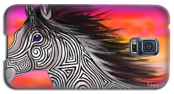 Galaxy S5 Case featuring the painting Sunset Ride Tribal Horse by Nick Gustafson