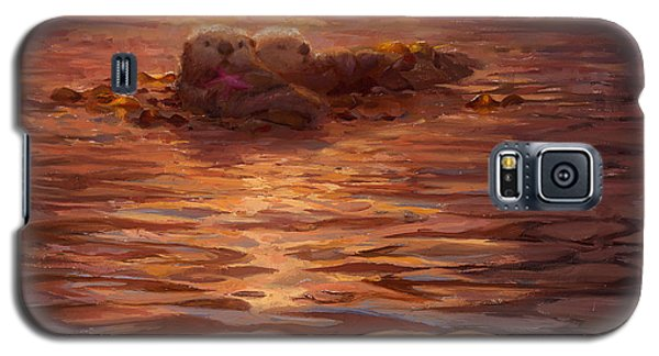 Otter Galaxy S5 Case - Sunset Snuggle - Sea Otters Floating With Kelp At Dusk by Karen Whitworth