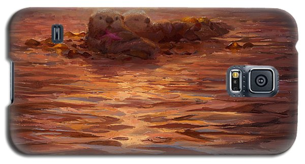 Otter Galaxy S5 Case - Sea Otters Floating With Kelp At Sunset - Coastal Decor - Ocean Theme - Beach Art by Karen Whitworth