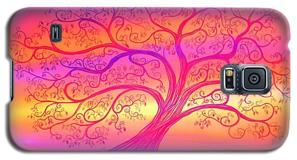 Galaxy S5 Case featuring the painting Sunset Tree Cats by Nick Gustafson