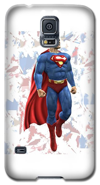 Galaxy S5 Case featuring the mixed media Superman Splash Super Hero Series by Movie Poster Prints