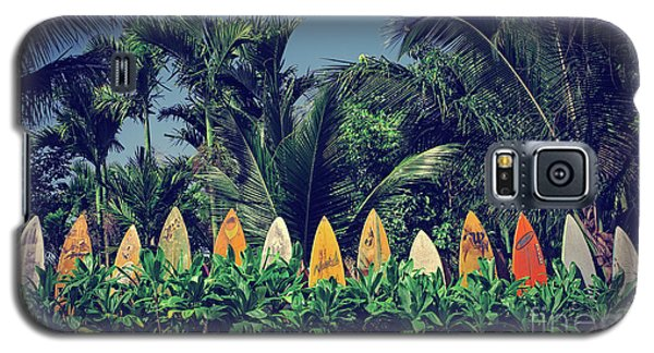 Galaxy S5 Case featuring the photograph Surf Board Fence Maui Hawaii Vintage by Edward Fielding
