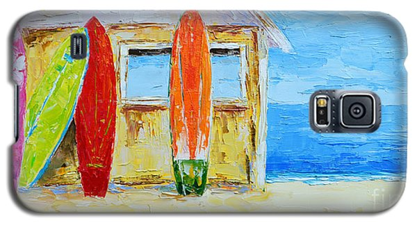 Surf Board Rental Shack At The Beach - Modern Impressionist Palette Knife Work Galaxy S5 Case