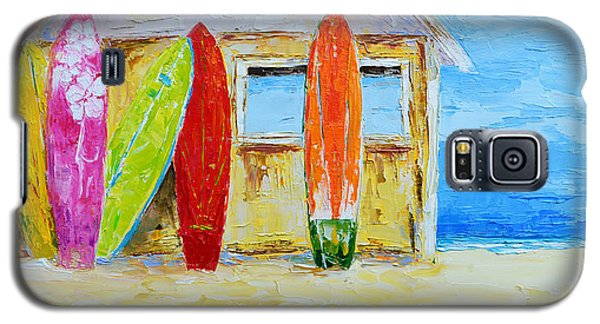 Surf Board Rental Shack At The Beach - Modern Impressionist Palette Knife Work Galaxy S5 Case