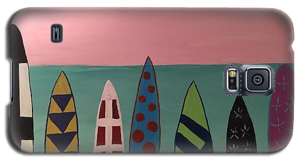 Galaxy S5 Case featuring the painting Surfboards At On Beach by Paula Brown