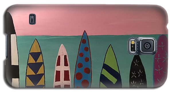 Surfboards At On Beach Galaxy S5 Case by Paula Brown