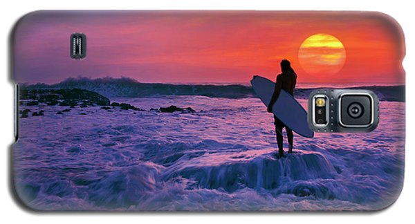 Surfer On Rock Looking Out From Blowing Rocks Preserve On Jupiter Island Galaxy S5 Case by Justin Kelefas
