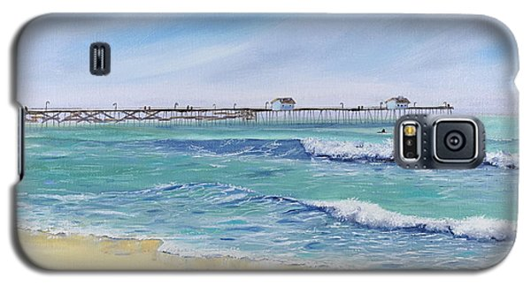 Galaxy S5 Case featuring the painting Surfing In San Clemente by Mary Scott