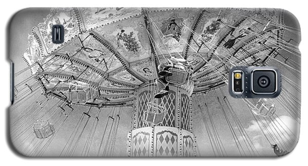 Galaxy S5 Case featuring the photograph Surreal Carnival Rides - Carnival Rides Ferris Wheel Black And White Photography Prints Home Decor by Kathy Fornal