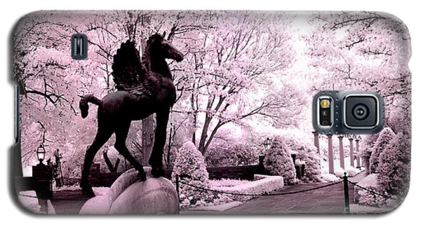 Surreal Infared Pink Black Sculpture Horse Pegasus Winged Horse Architectural Garden Galaxy S5 Case by Kathy Fornal