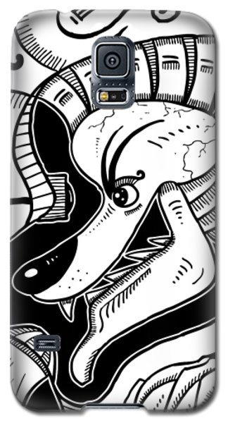 Surrealism Wolf Black And White Galaxy S5 Case
