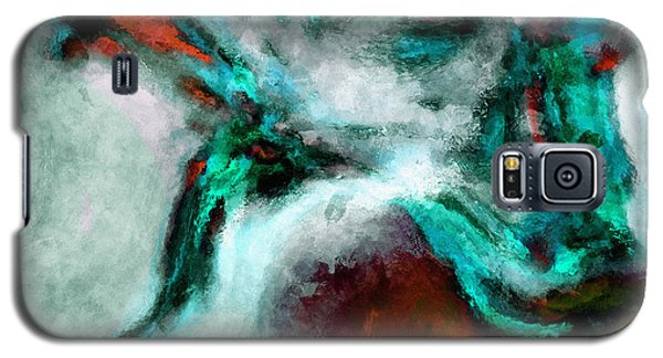 Galaxy S5 Case featuring the painting Surrealist And Abstract Painting In Orange And Turquoise Color by Ayse Deniz