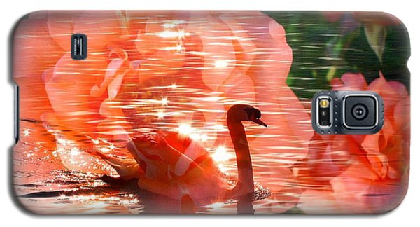 Swan In Lake With Orange Flowers Galaxy S5 Case