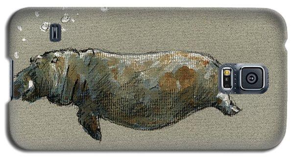 Swimming Hippo Galaxy S5 Case by Juan  Bosco