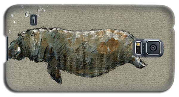Swimming Hippo Galaxy S5 Case by Juan  Bosco