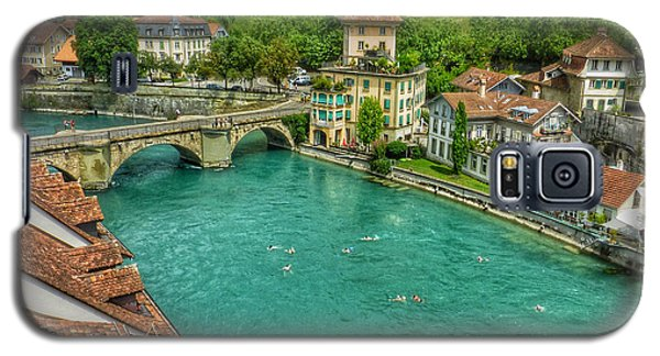 Galaxy S5 Case featuring the photograph Swimming The River Aare , Bern  by Connie Handscomb
