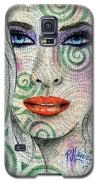 Galaxy S5 Case featuring the drawing Swirl Girl by P J Lewis