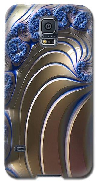 Galaxy S5 Case featuring the digital art Swirly Blue Fractal Art by Bonnie Bruno