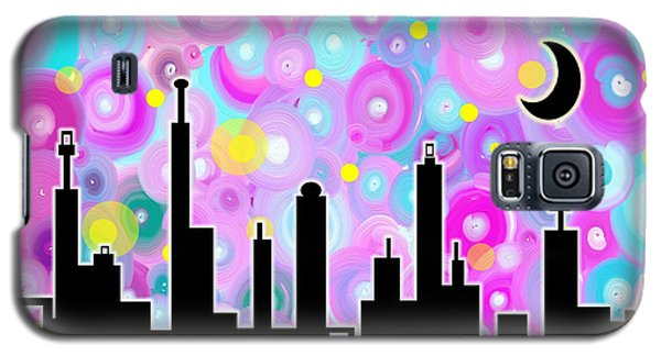 Galaxy S5 Case featuring the painting Swirly Metropolis by Shawna Rowe