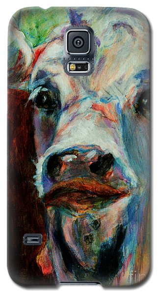 Galaxy S5 Case featuring the painting Swiss Cow - 1 by David  Van Hulst