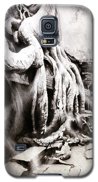 Galaxy S5 Case featuring the painting Sycamore Tree Overgrowing Ruins- Cambodia by Ryan Fox