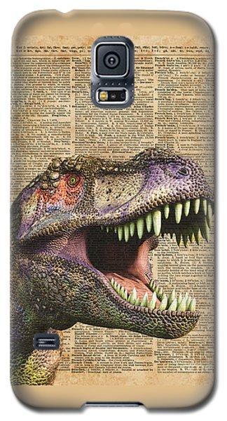 T-rex,tyrannosaurus,dinosaur Vintage Dictionary Art Galaxy S5 Case by Jacob Kuch