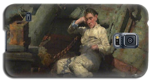 Galaxy S5 Case featuring the painting Taking A Spell  by Henry Scott Tuke