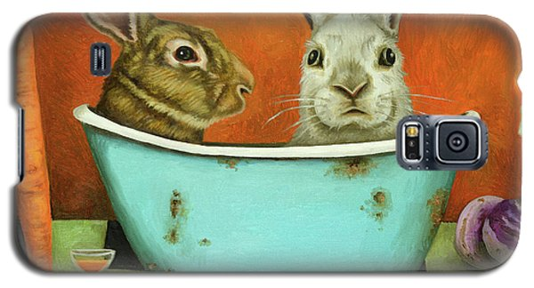 Galaxy S5 Case featuring the painting Tale Of Two Bunnies by Leah Saulnier The Painting Maniac
