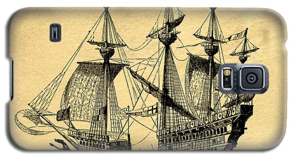 Galaxy S5 Case featuring the drawing Tall Ship Vintage by Edward Fielding