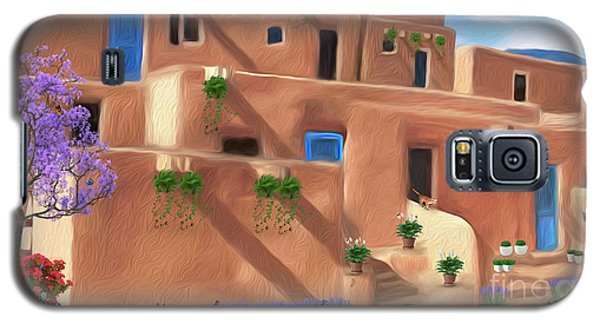 Taos Pueblo With Flowers Galaxy S5 Case