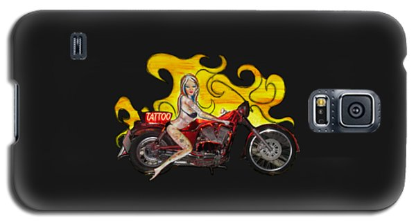 Tattoo Pinup Girl On Her Motorcycle Galaxy S5 Case by Tom Conway