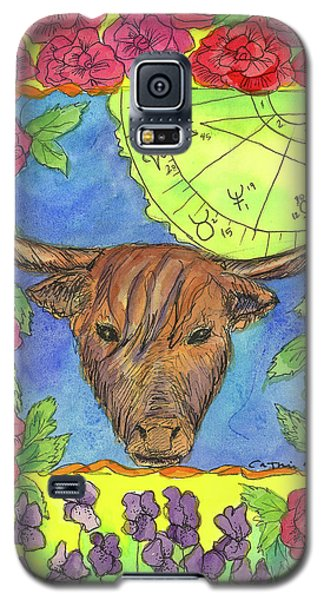 Galaxy S5 Case featuring the painting Taurus by Cathie Richardson