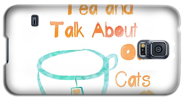 Tea And Cats Square Galaxy S5 Case by Linda Woods