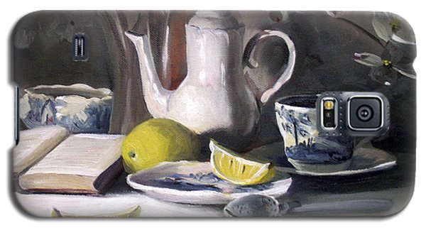 Galaxy S5 Case featuring the painting Tea With Lemon by Nancy Griswold