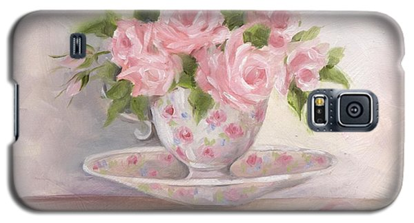 Galaxy S5 Case featuring the painting Teacup And Saucer Rose Shabby Chic Painting by Chris Hobel
