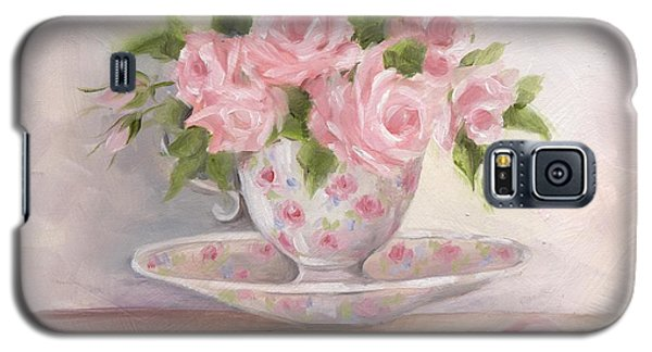 Teacup And Saucer Rose Shabby Chic Painting Galaxy S5 Case by Chris Hobel