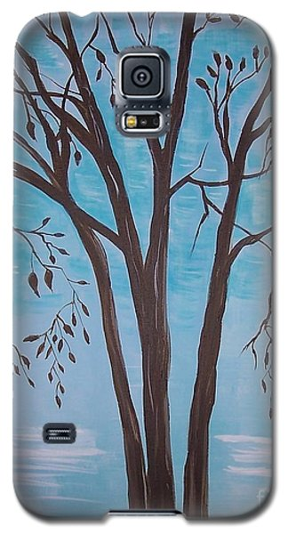 Galaxy S5 Case featuring the painting Teal And Brown by Leslie Allen