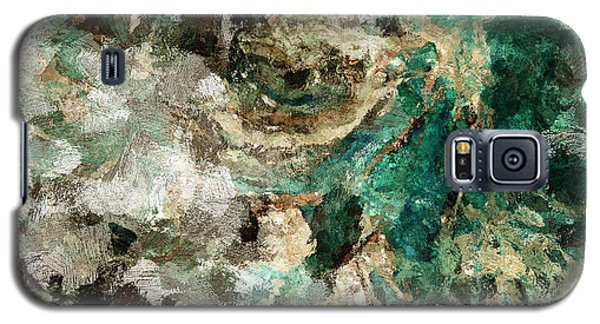 Galaxy S5 Case featuring the painting Teal And Cream Abstract Painting by Ayse Deniz