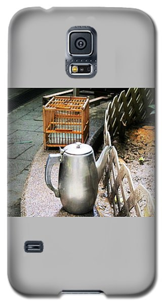 Galaxy S5 Case featuring the photograph Teapot And Birdcage by Ethna Gillespie