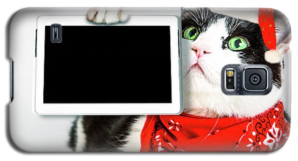 Technology Christmas Cat Galaxy S5 Case