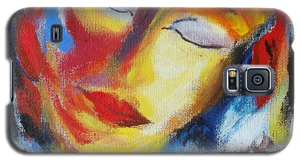 Galaxy S5 Case featuring the painting Tell Me - I Listen You by Nina Mitkova