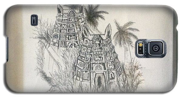 Galaxy S5 Case featuring the painting Temple In Calligraphy Ink by Brindha Naveen