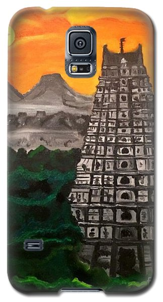 Galaxy S5 Case featuring the painting Temple Near The Hills by Brindha Naveen