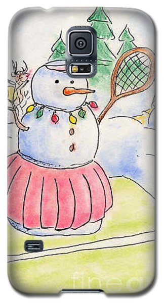 Galaxy S5 Case featuring the drawing Tennis Snowlady by Vonda Lawson-Rosa