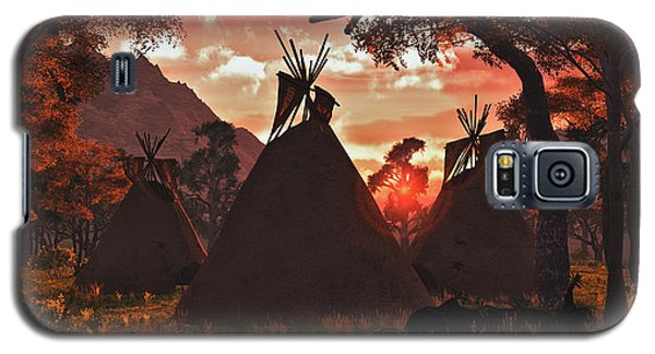 Galaxy S5 Case featuring the digital art Tepee Sunset by Walter Colvin