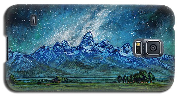 Galaxy S5 Case featuring the painting Teton Milky Way by Aaron Spong