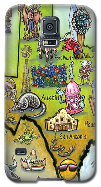 Galaxy S5 Case featuring the digital art Texas Cartoon Map by Kevin Middleton