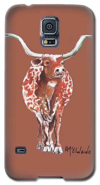 Texas Longhorn Taking The Lead Watercolor Painting By Kmcelwaine Galaxy S5 Case